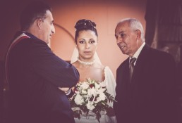 Authentic moment of Bride waiting with her father