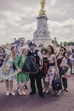 hen party portrait with policeman